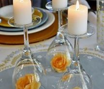 Wine glasses turned upside down with candle on top-Creative Table Decor