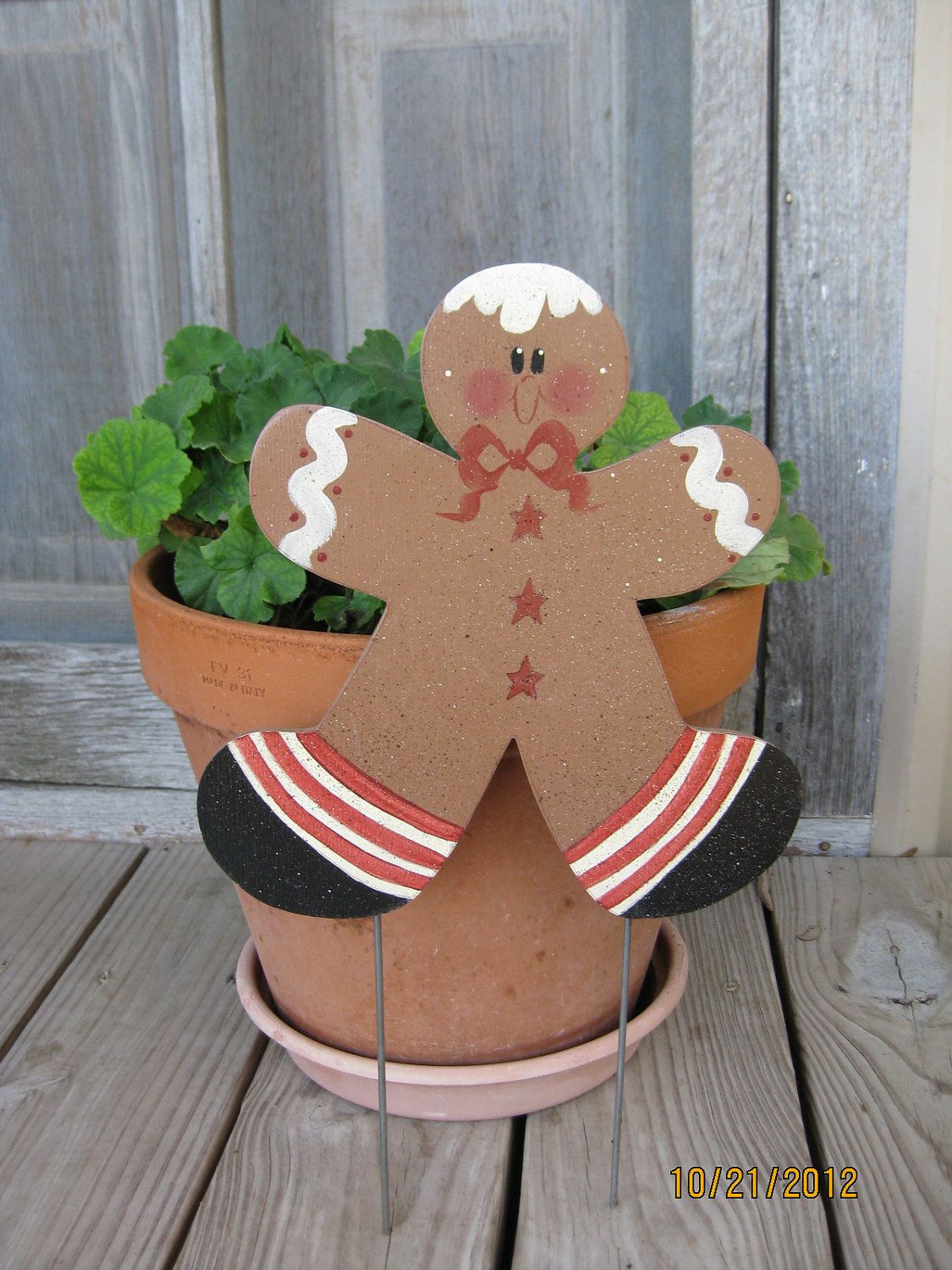 Adorable Gingerbread Man Yard Stake Personalized By