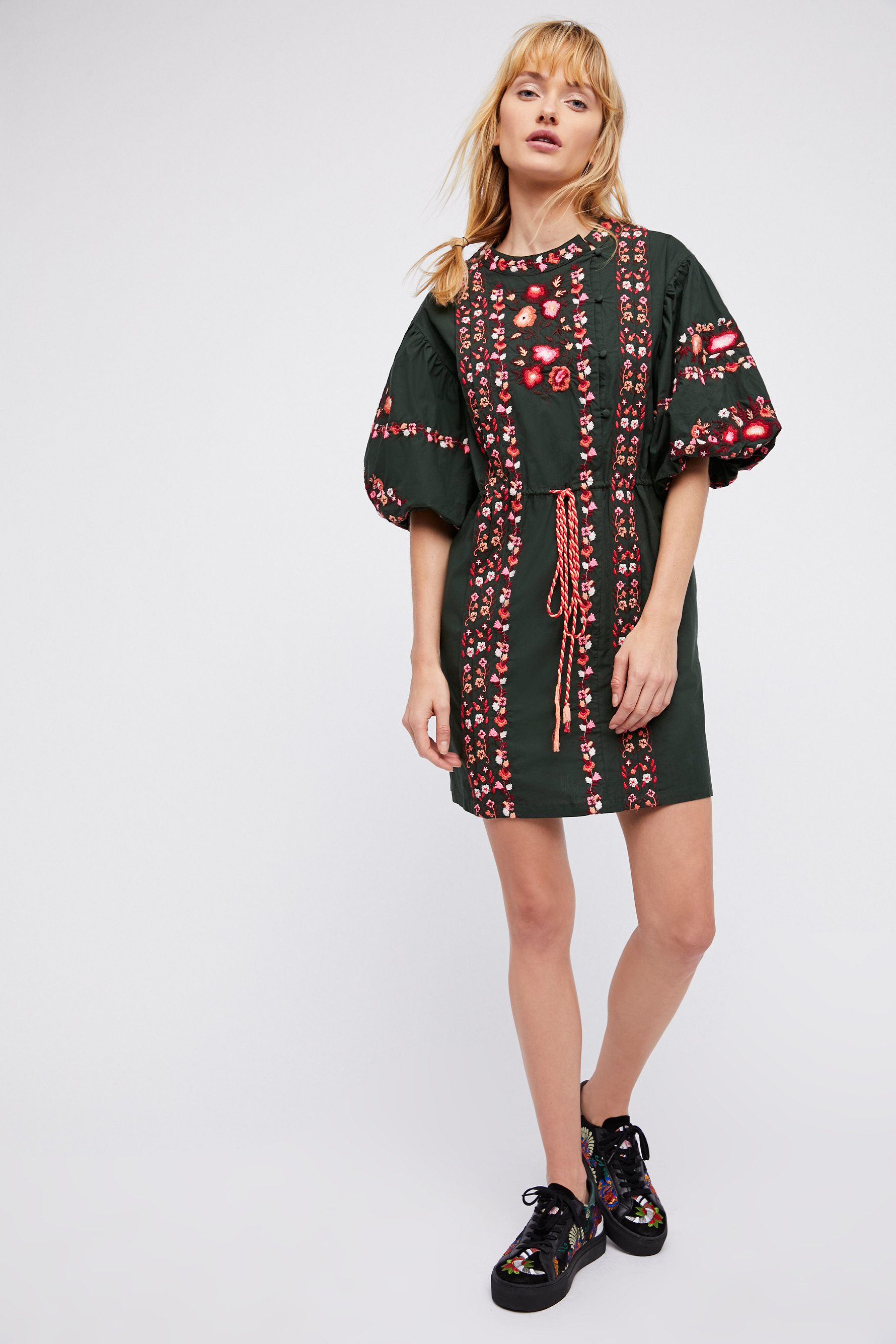 Fall Outfits Dresses Free People Havana Embroidered Mini Dress In A Gorgeous Green Color Love This For Cute And Fun