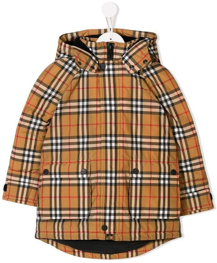8956bdc1c9f Burberry Vintage check hooded down jacket | Products | Burberry kids ...