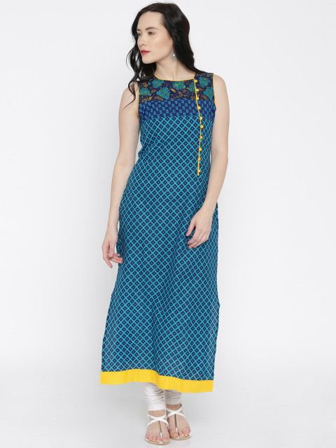 c7b9f5324f7 Buy Vishudh Blue Printed A Line Kurta - Kurtas for Women