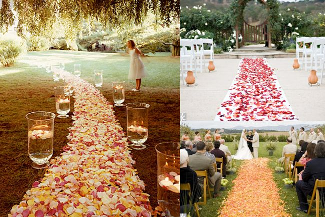 Flower petal aisle with candle runner. Sooo beautiful! | Chic ...