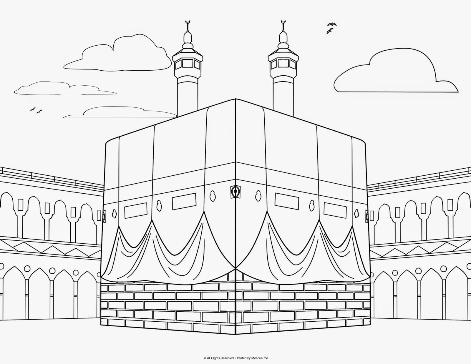 Religious Mosque Kabah Coloring Pages Coloring Pages Pinterest