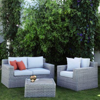 Praslin Rattan Effect Coffee Set Grey 0000004190622 Garden Furniture Garden Styles Garden Design
