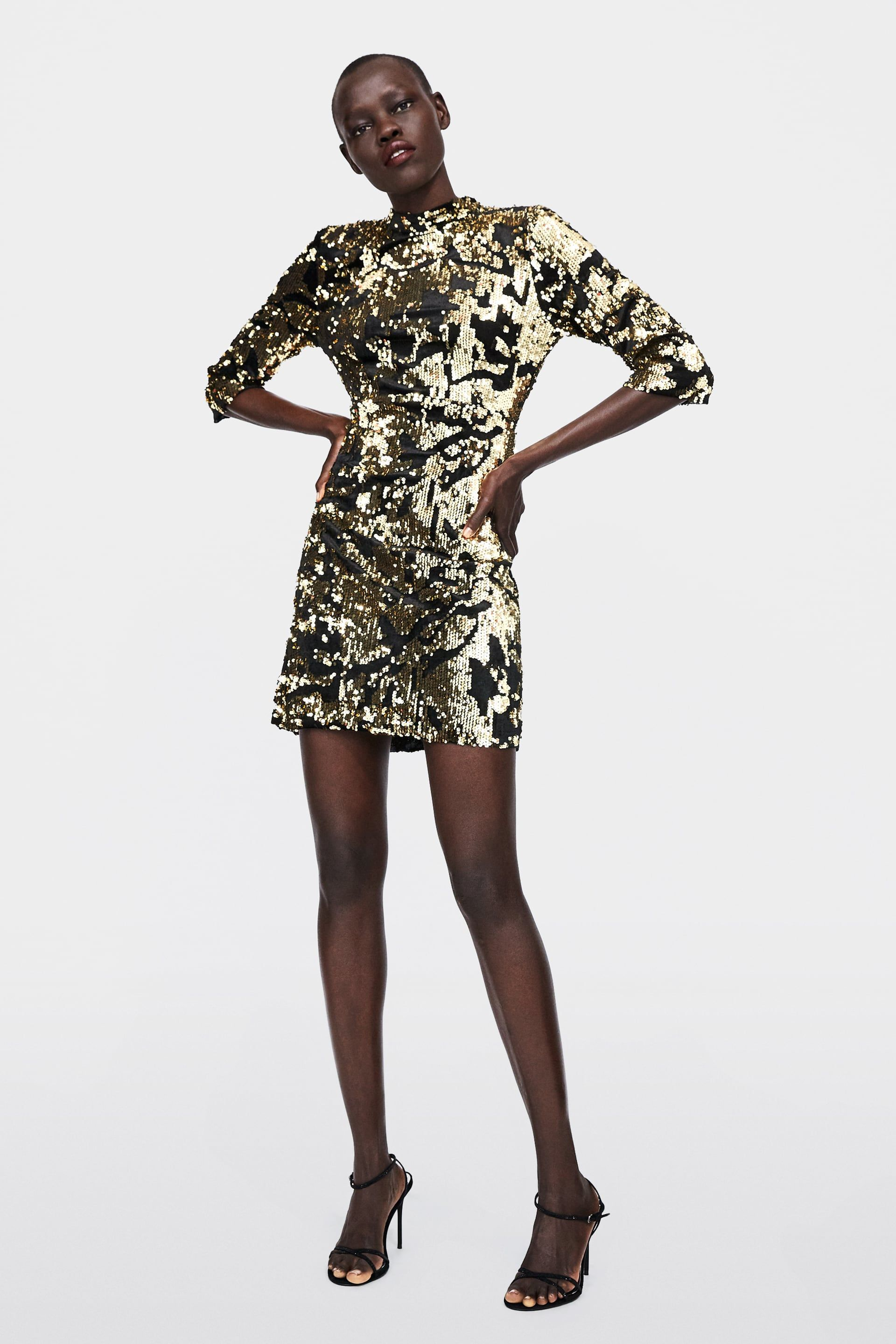 122377fa3f Image 1 of SEQUIN DRESS from Zara Zara Gold
