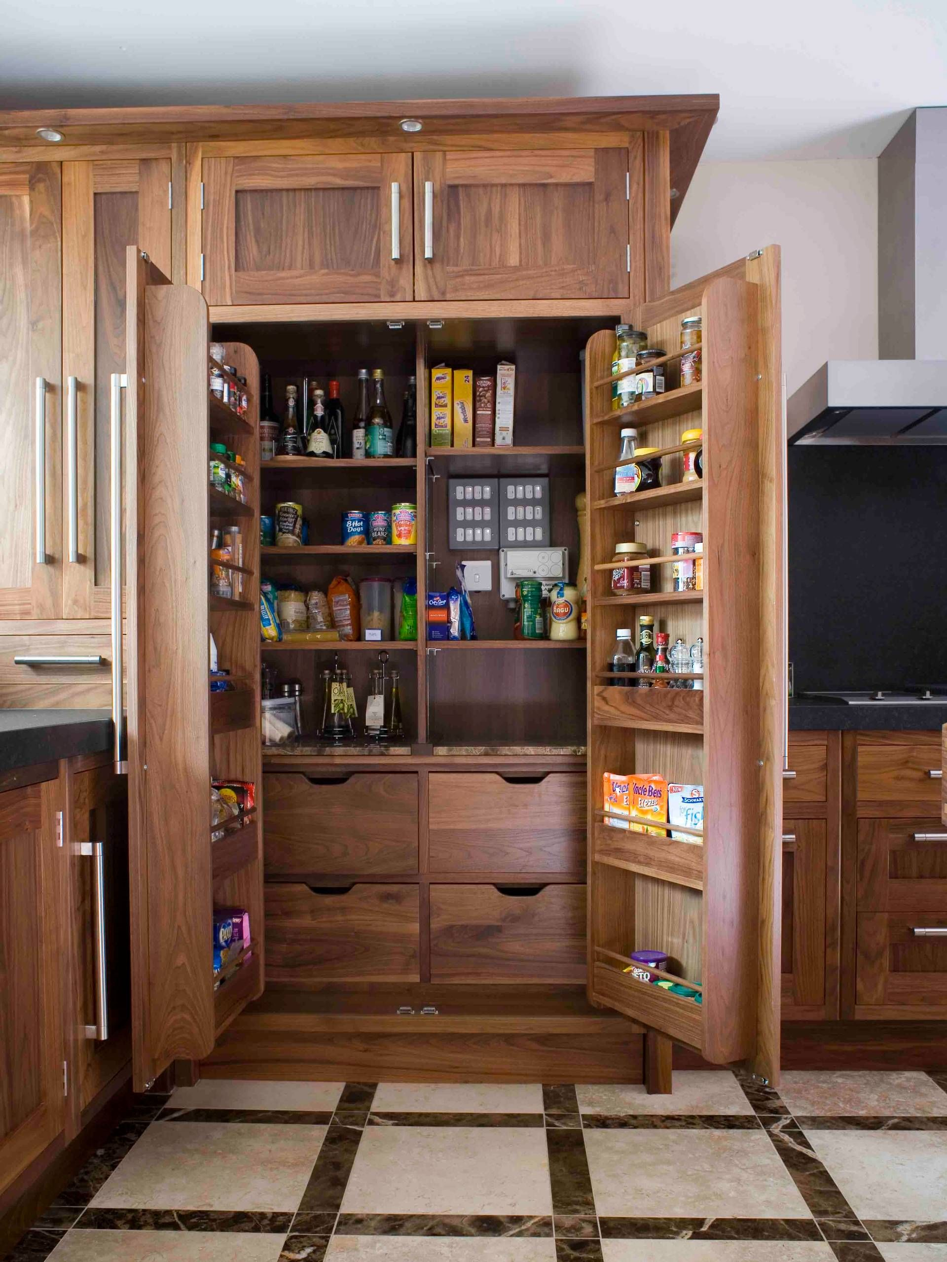 Great Pantry Organization With Bespoke Kitchen And Food