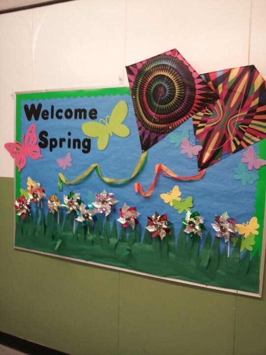 Spring bulletin board idea. Could do book covers for kites.