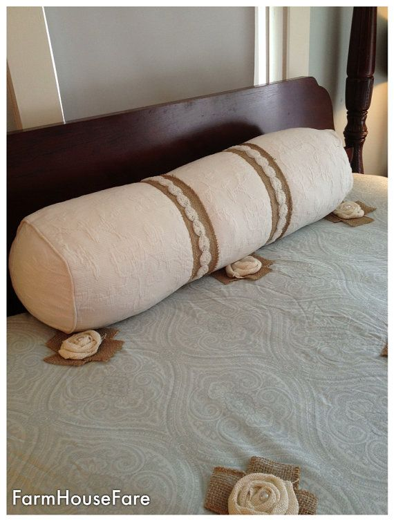 Large Bolster Pillow Shabby Cottage Chic Bedding by FarmHouseFare, $128.00 Around the Farm ...
