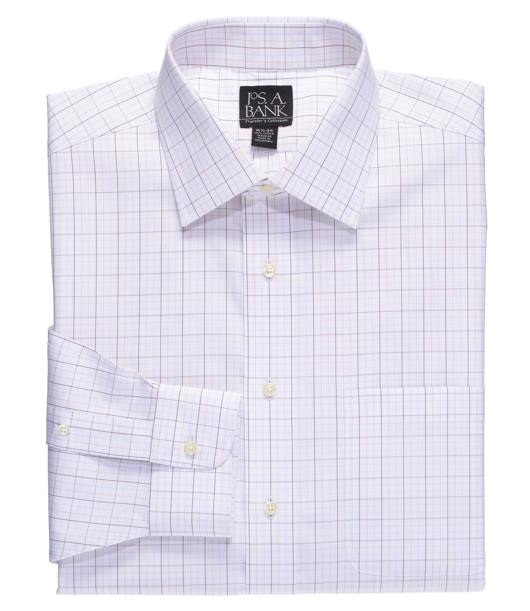 Traveler Collection Traditional Fit Spread Collar Grid Dress Shirt - Big & Tall