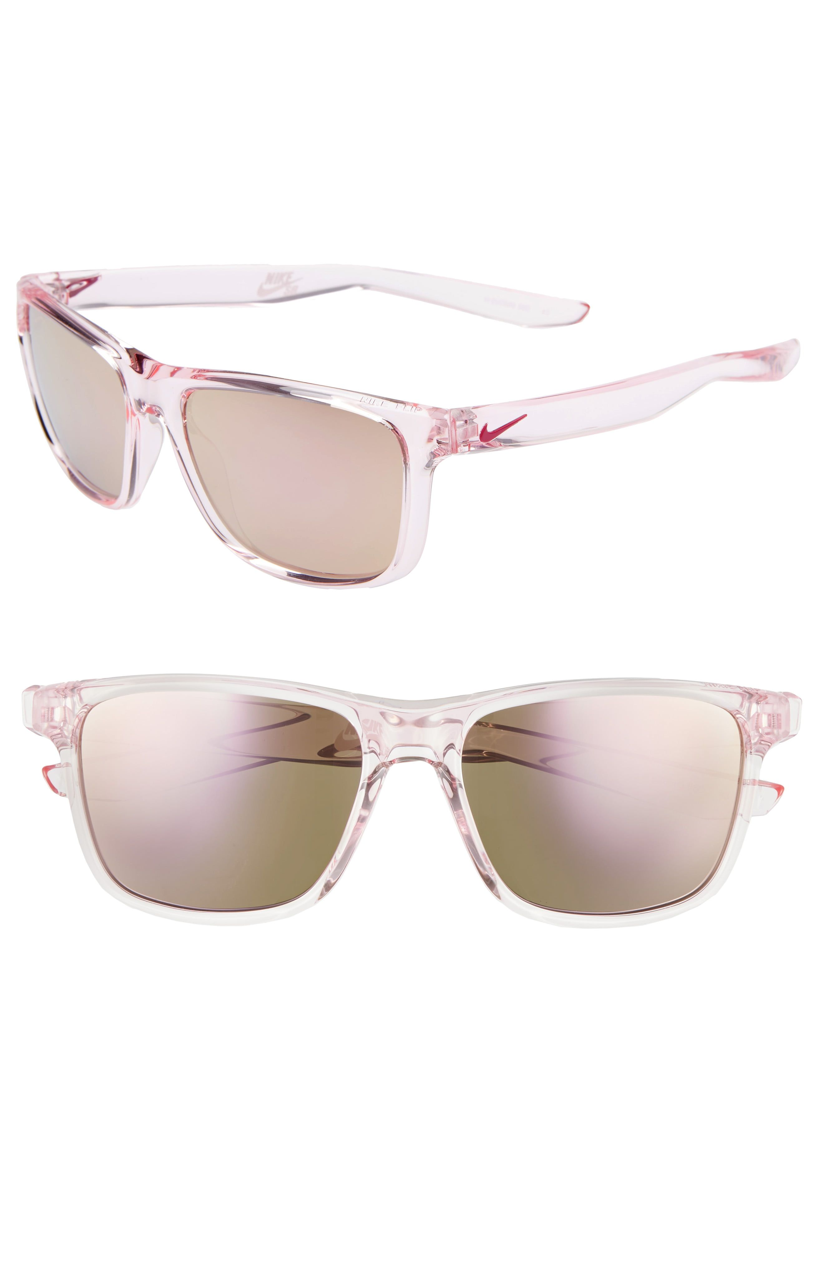 Nike Flip 53Mm Mirrored Sunglasses Crystal Clear/ Pink