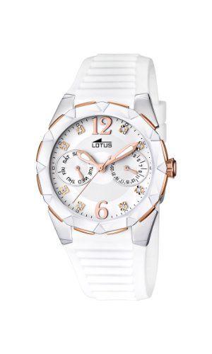 e209dc78b347 Lotus 15731 2 - Reloj analógico de cuarzo para mujer con correa de caucho  blanco