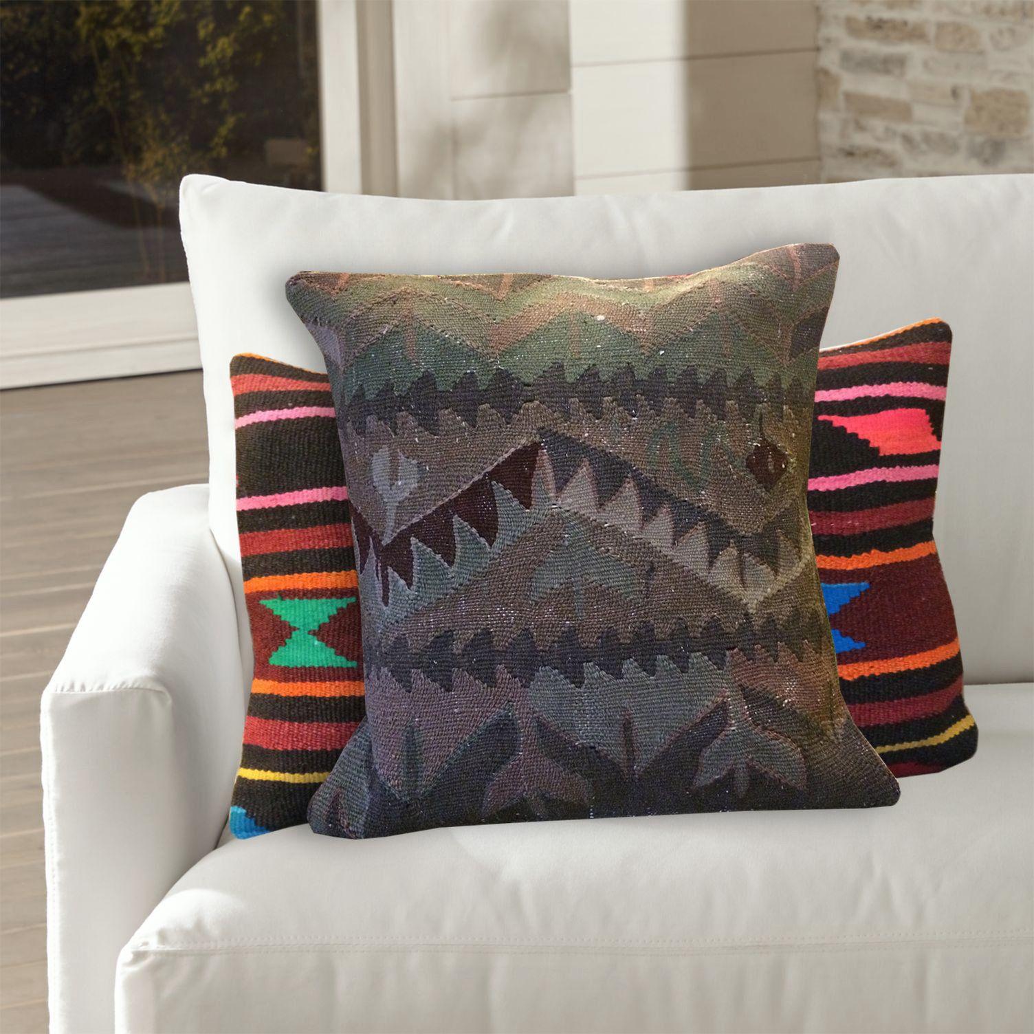 Tan Green Brown Turkish Pillow 20x20 Large Sofa Pillows Throw