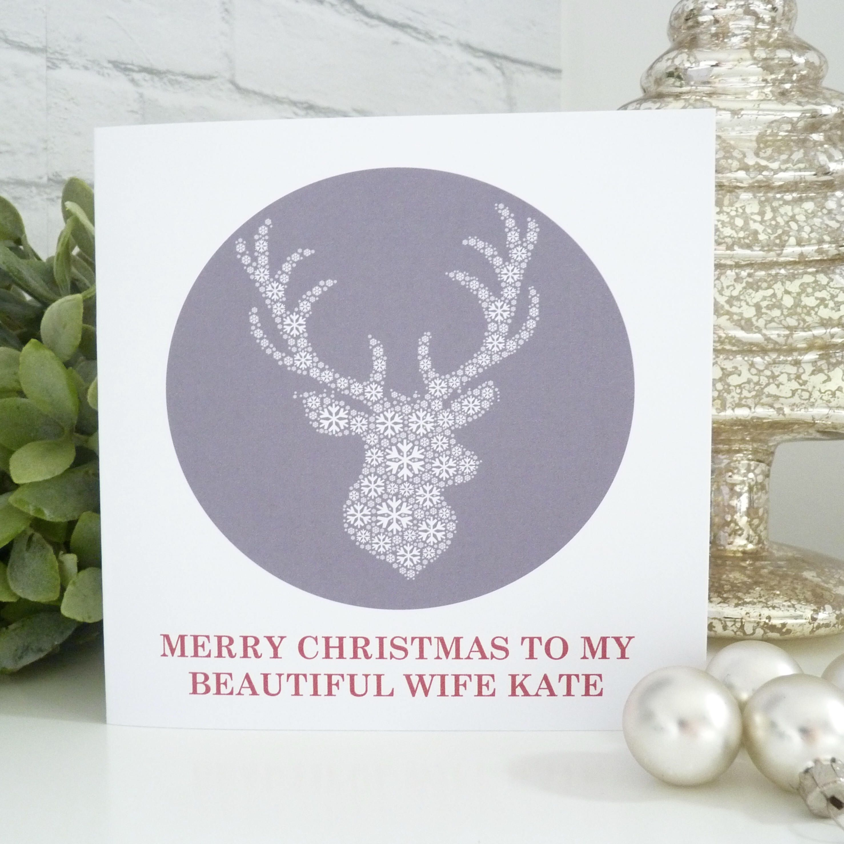 Personalised Stag Christmas Card Christmas Card For Wife Christmas