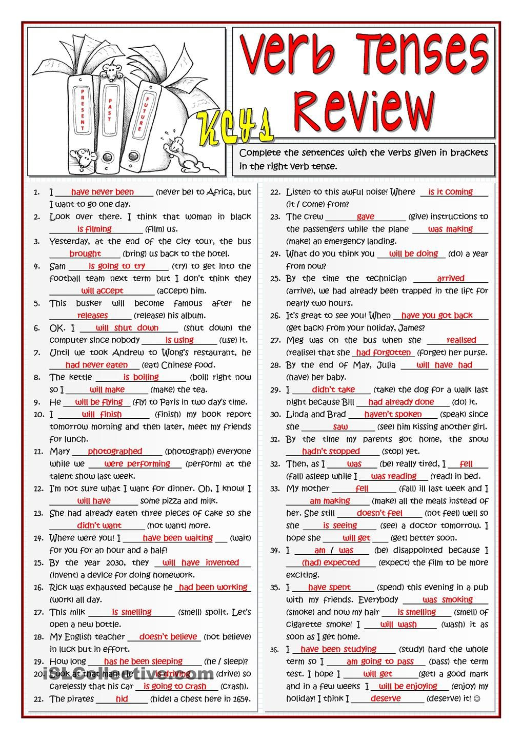 B1 VERB TENSES REVIEW   Material for English classes   Pinterest ...