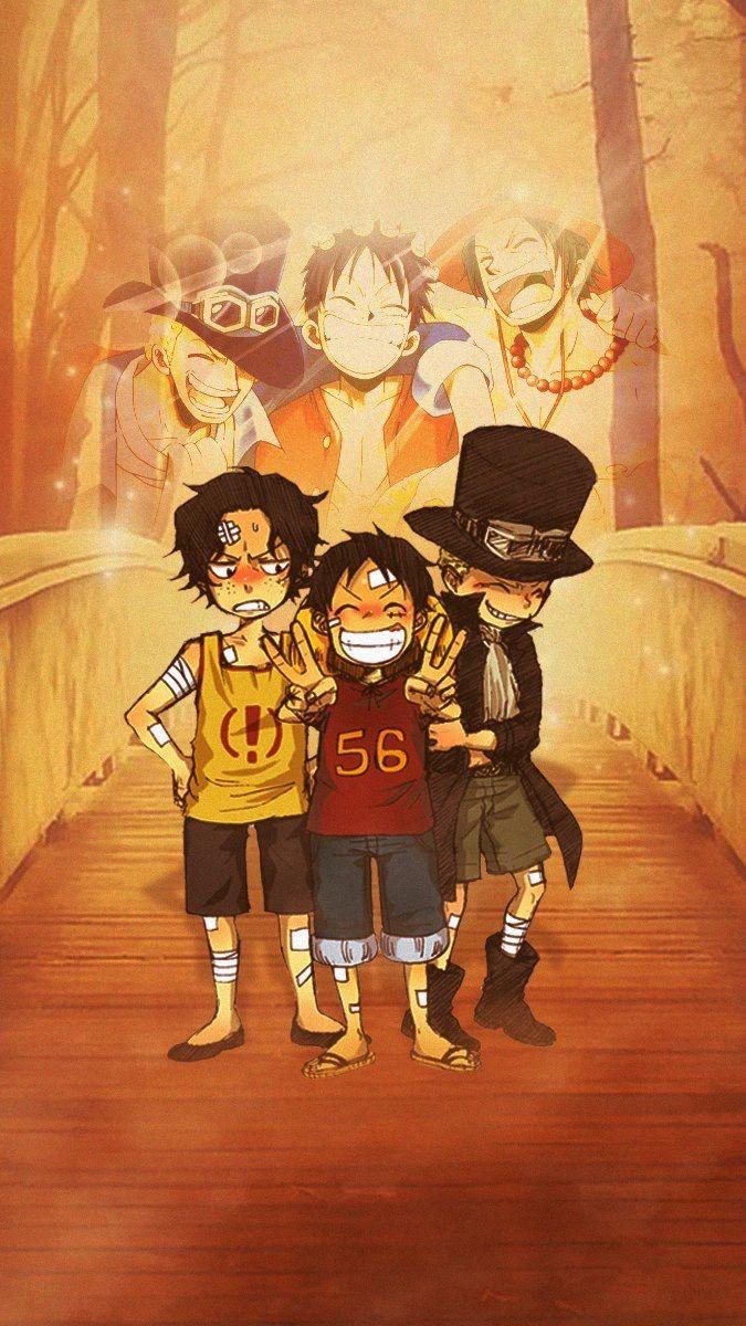 Ace Luffy Et Sabo Fond Ecran Mes Amours One Piece Ace One Piece Luffy Anime One Piece