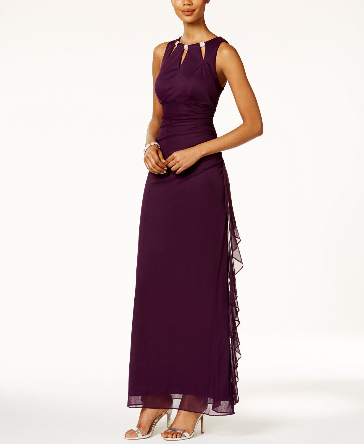 B&A by Betsy and Adam Embellished Keyhole Ruched Gown | macys.com ...