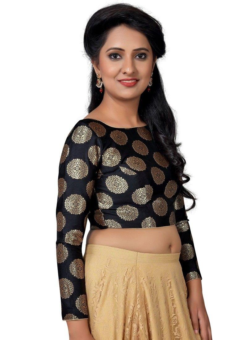 ff61e7b8b9e96c Shop Online Black Brocade  Ready-madeBlouse  Chennaistore.com ...