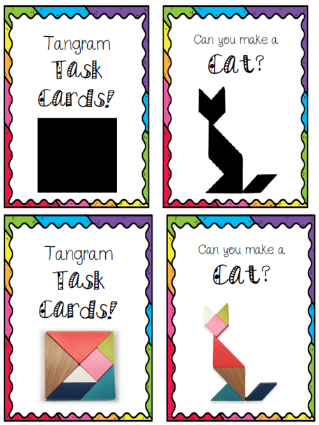 Tangram Task Cards Works With All Tangram Sets Specifically Designed For Kmart S Wooden Tangram Set Task Cards Tangram Cards