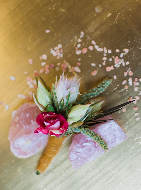 pink and green boutonniere - photo by Shannon Grant Photography http://ruffledblog.com/rose-quartz-wedding-inspiration #weddingideas #boutonnieres