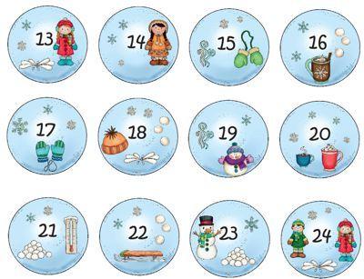 adventkalender zahlen 13-24 med bilder   adventskalender, skola, jul