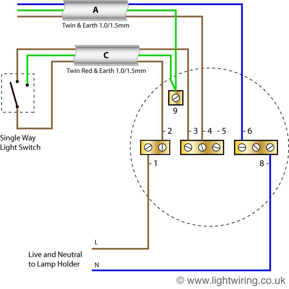 Wiring Diagram For House Light Ceiling Rose Ceiling Rose Wiring Lighting Diagram