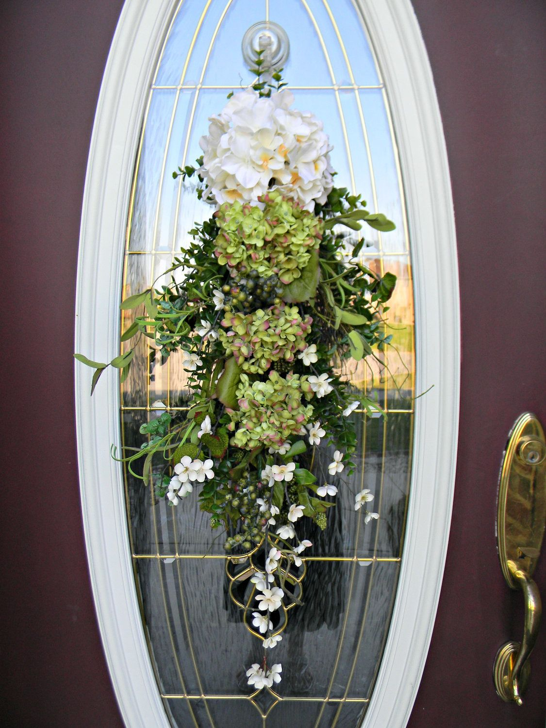 Big Front Doors Teardrop Wreath Teardrop Vertical Spring