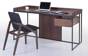 Bureau bois foncé et métal noir avec tiroir intégré fizz deco