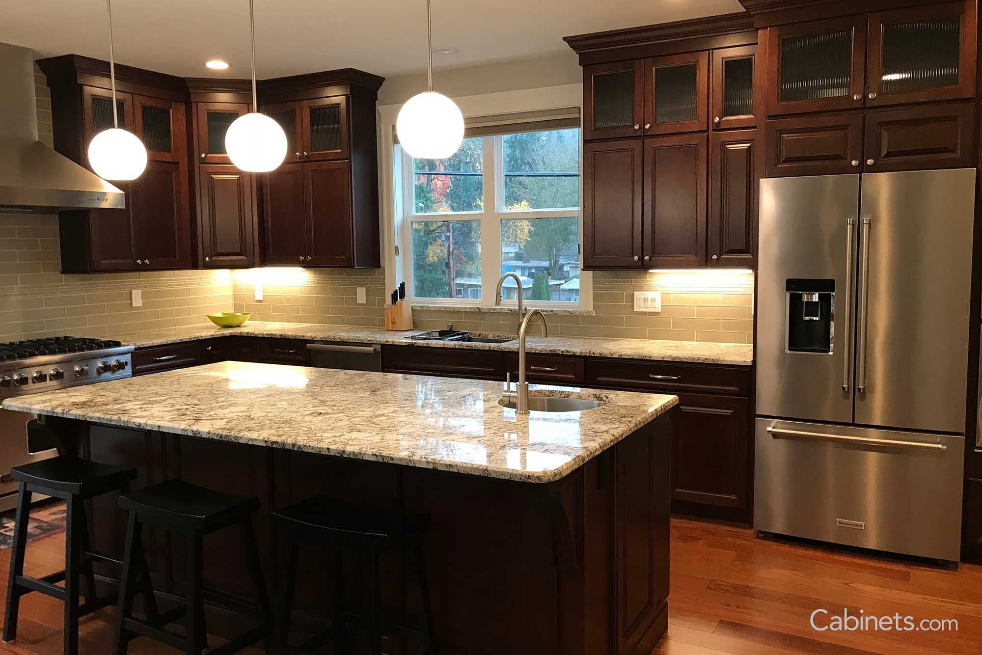 youngstown maple java coffee glaze glass upper cabinets kitchen kitchen remodel on kitchen cabinets java id=53979