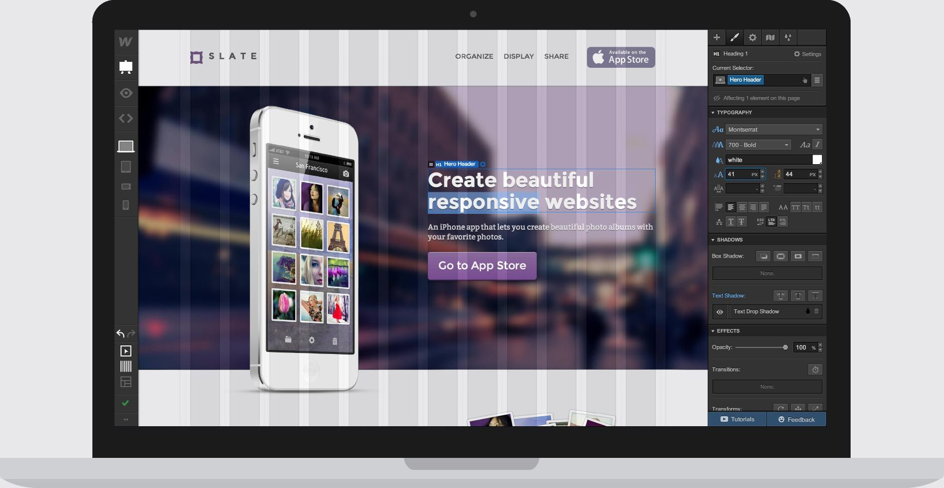 Webflow - a visual-based responsive web design app | Click image for more info and to try a demo.