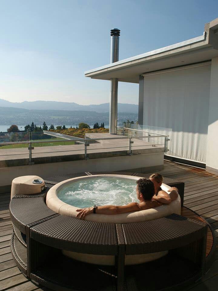 Hot tub roof terrace installation | jacousi | Pinterest | Terrazas ...
