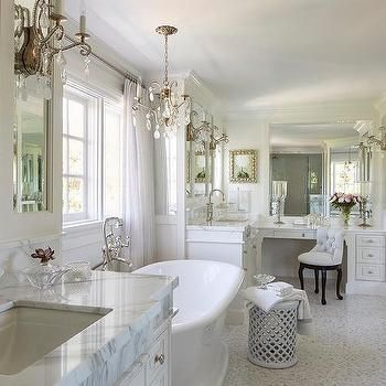 French Master Bathroom with His and Hers Washstands