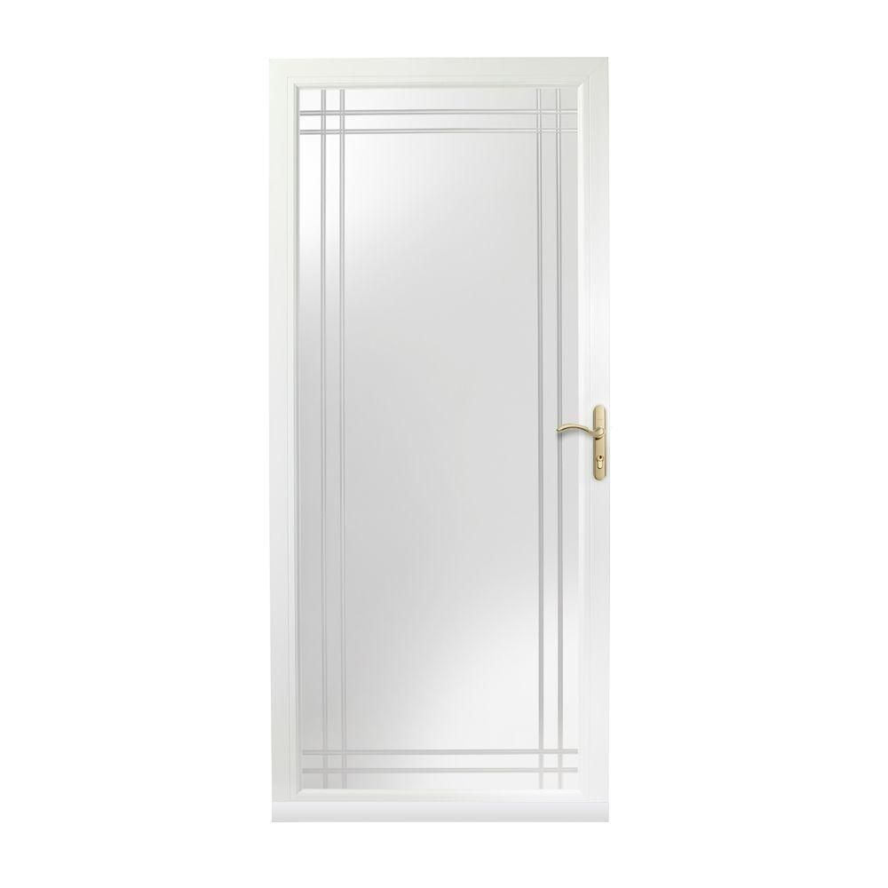 Andersen 36 In X 80 In 3000 Series White Right Hand Fullview Etched Glass Easy Install Aluminum Storm Door With Brass Hardware 3vgbezr36wh Glass Storm Doors Aluminum Storm Doors Easy Install