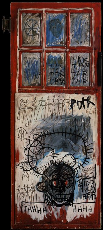 Jean Michel Basquiat - pork sans, 1981, acrylic, oil sticks, re-purposed wood door