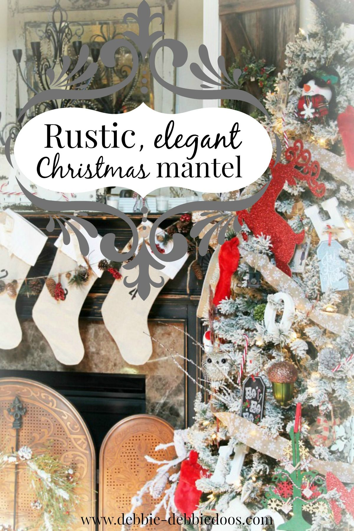 christmas mantel with rustic elegance