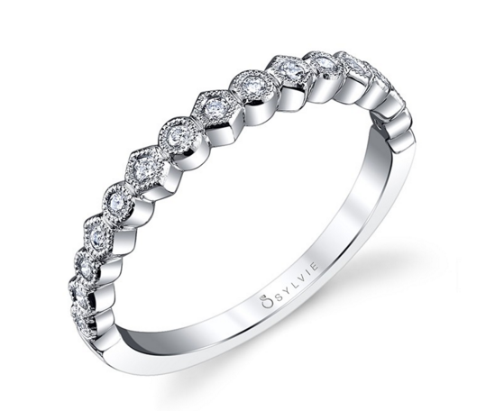 White Gold And Diamond Wedding Band From Sylvie B0019 Wg Diamond Wedding Bands Designer Engagement Rings Diamond Engagement Rings