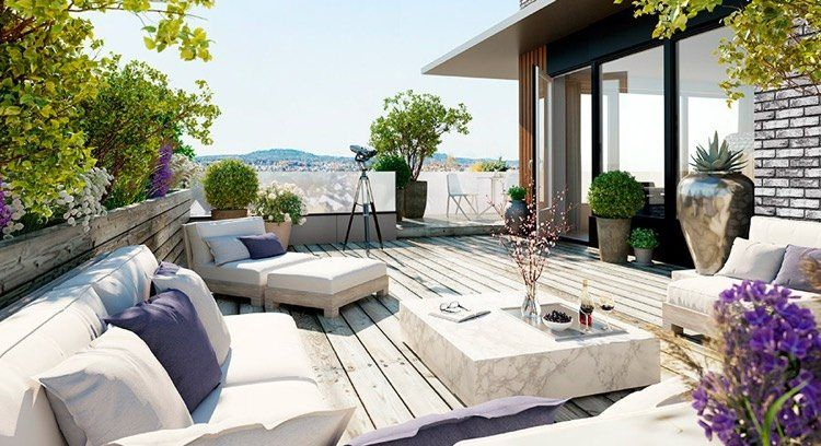 d co terrasse appartement 35 propositions qui vous couperont le souffle coussin violet. Black Bedroom Furniture Sets. Home Design Ideas