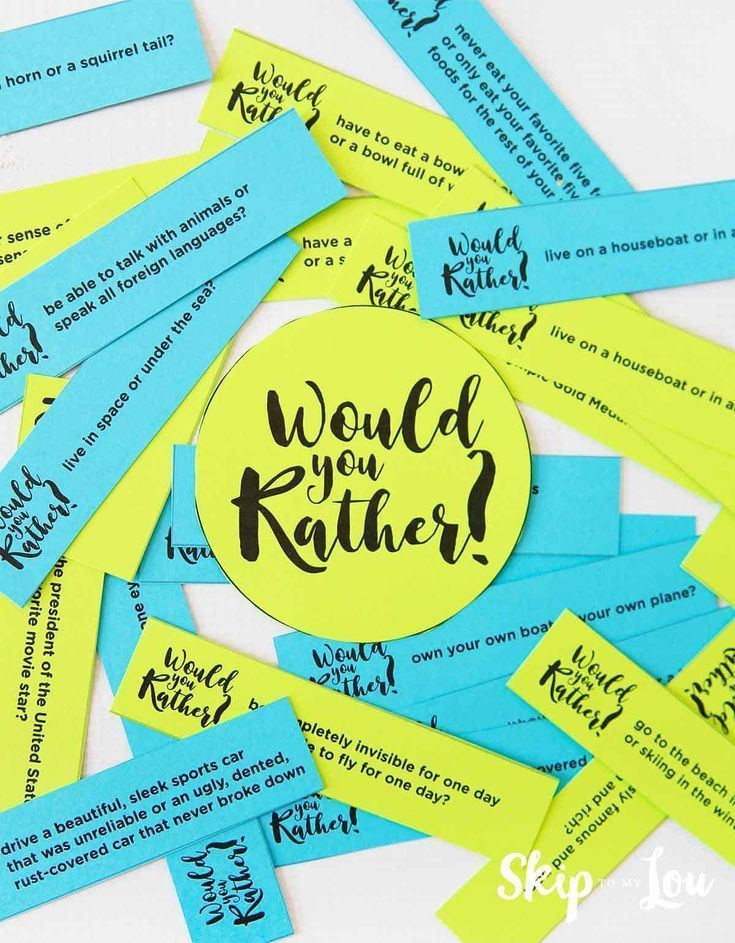 would you rather questions. A fun family friendly game to