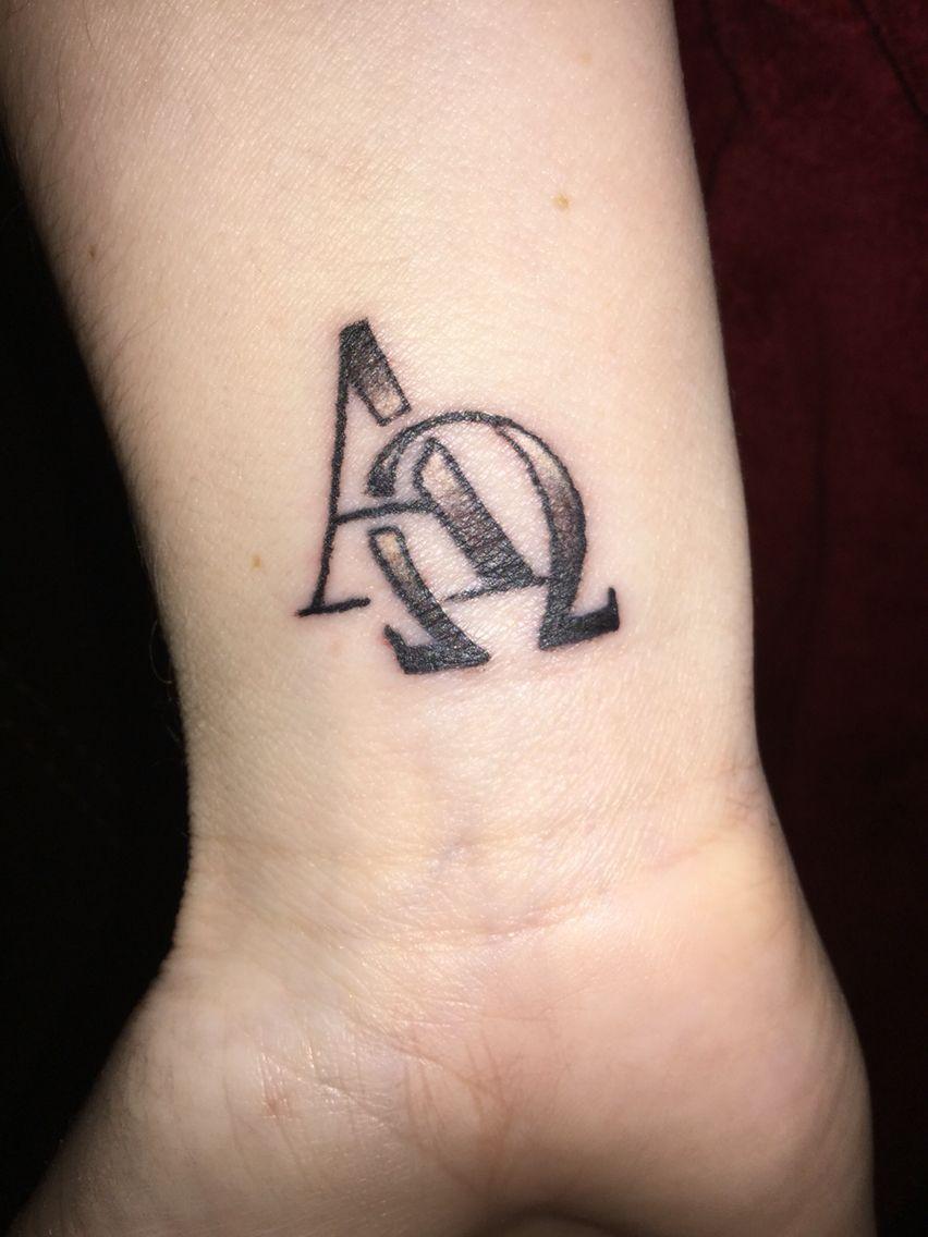246bef792 Alpha Omega small tattoo on wrist | My Tattoos | Small wrist tattoos ...