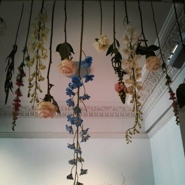 Lovely floral arrangements hanging from the ceiling #Wedgwoodteaexperience