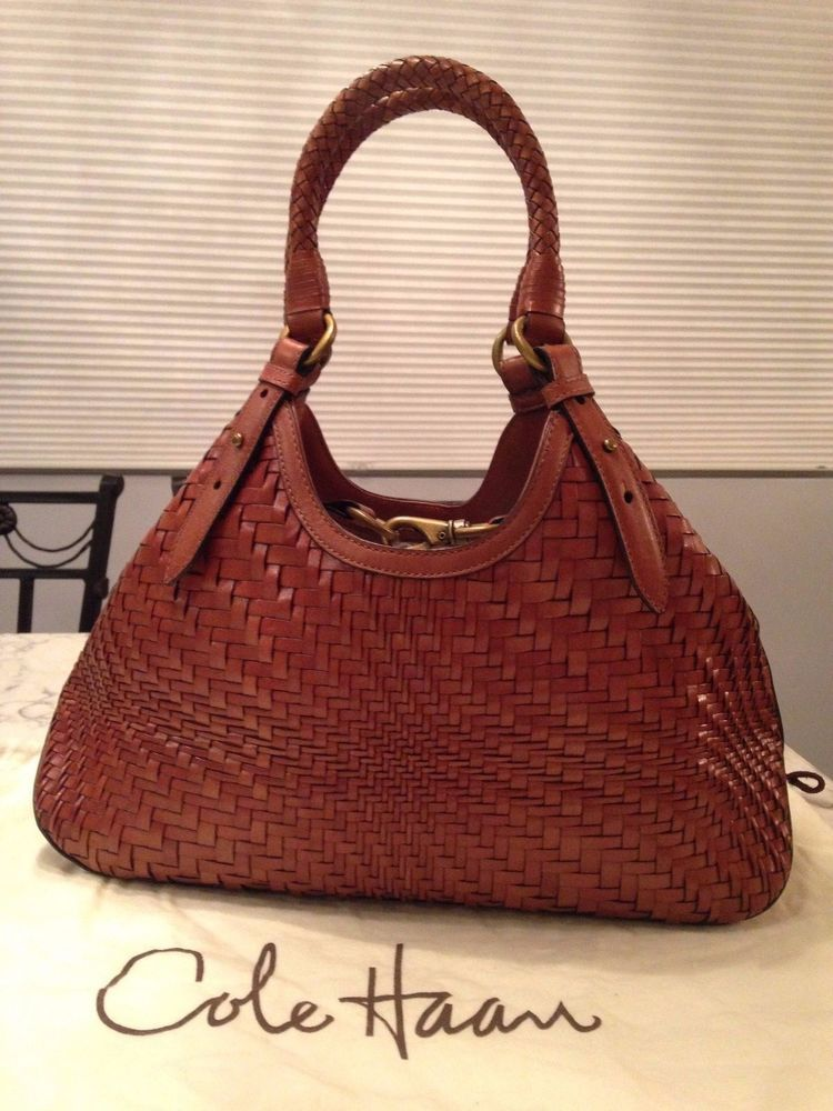 52a1485c322 Cole Haan Genevieve Woven Leather Weave Tote Hobo Satchel Hand Bag Purse  EUC! #ColeHaan