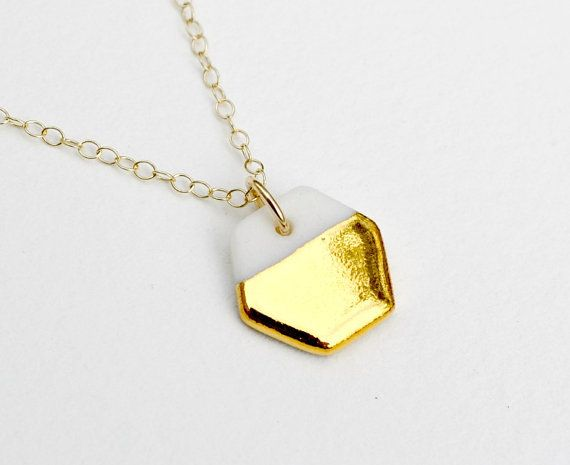 tiny porcelain hexagon necklace gold dipped by ashjewelrystudio