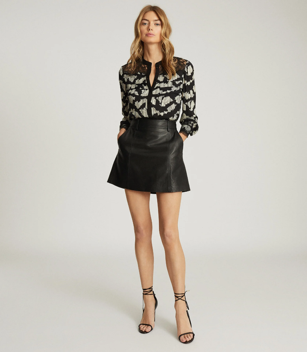 Ana Black Printed Blouse With Lace Detailing – REISS