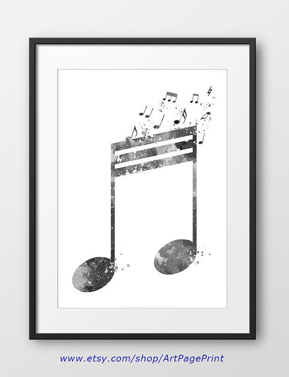 Music note black and white print no2 music nursery music