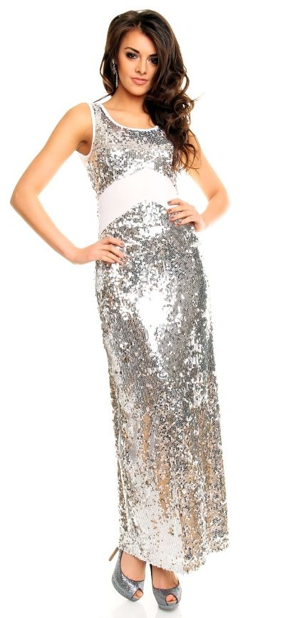 e02b46e704de Stříbrné plesové šaty dlouhé