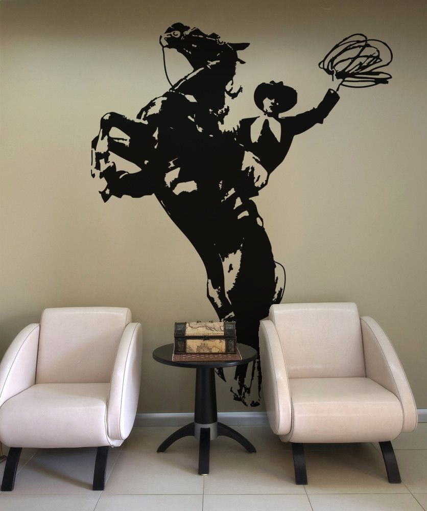 Vinyl Wall Decal Sticker Wild West Horse And Cowboy Os Aa427