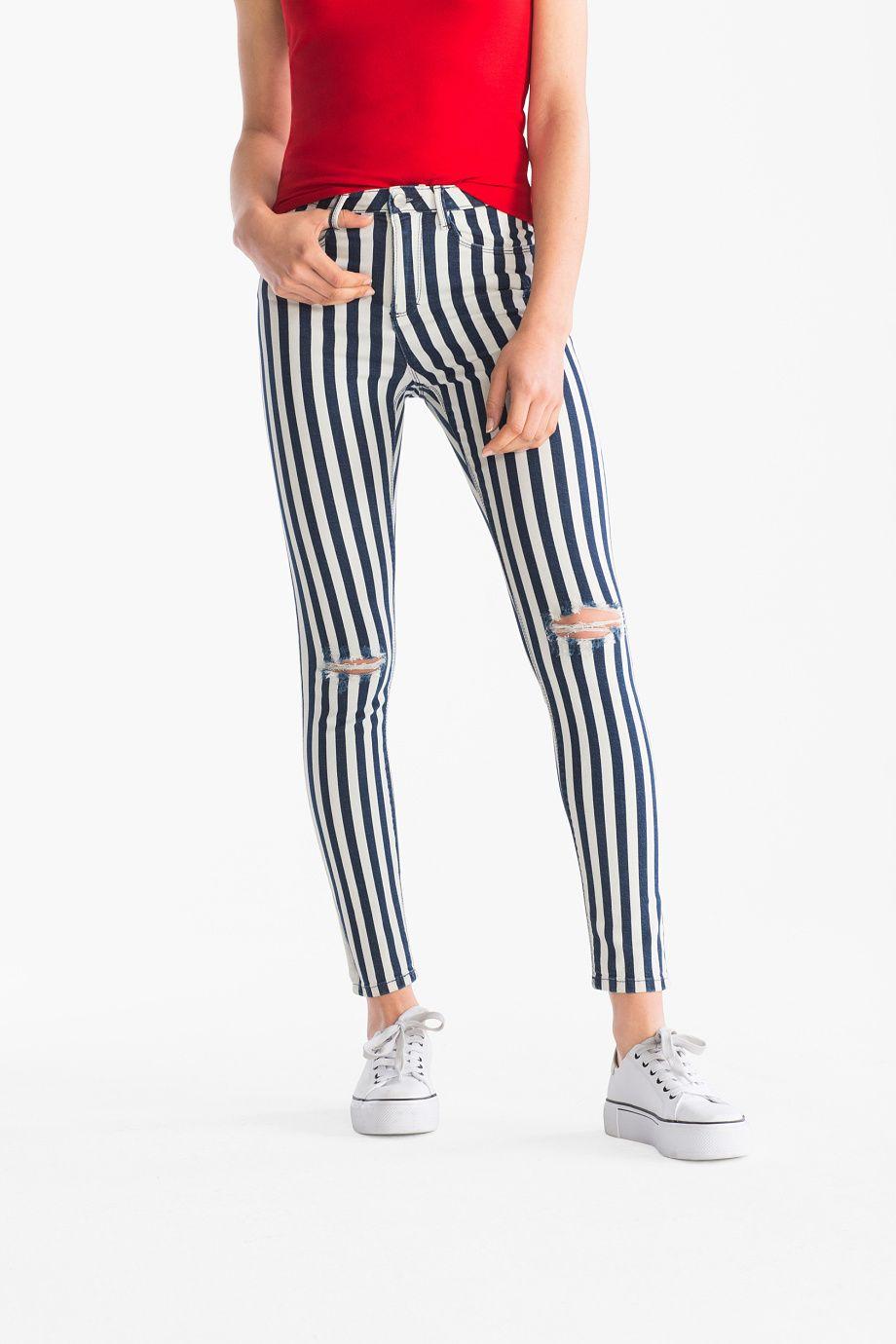 Mujer The Jegging Jeans De Rayas Azul Oscuro Blanco Casual Outfit Pantalon Rayas Ropa Casual Para Mujer