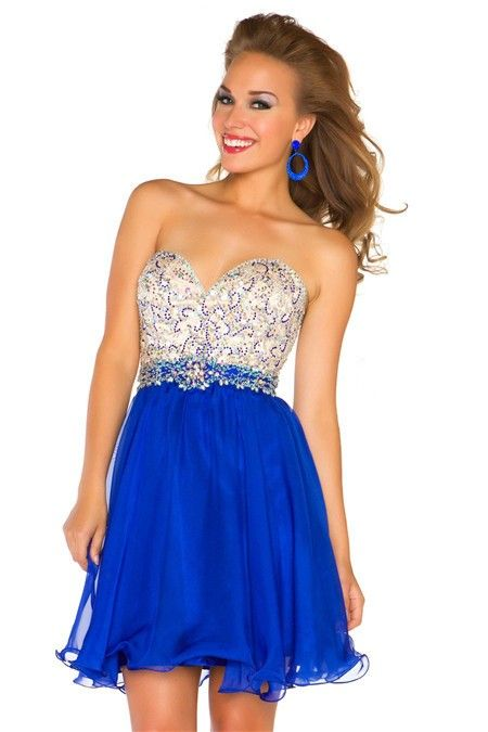 13484937298 A Line Strapless Short Royal Blue Chiffon Beading Homecoming Cocktail Party  Dress