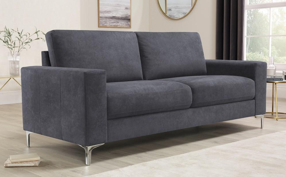 Baltimore Slate Grey Plush Fabric 3 Seater Sofa Furniture Choice In 2020 Furniture Choice Sofa Furniture Fabric Sofa
