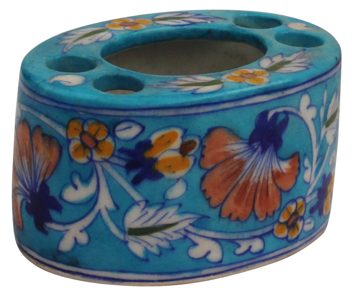 """Hand-Painted Sky-Blue Tooth-Brush / Toothpaste Holder in Ceramic – 5"""" Bathroom Organizers / Accessories from India-Buy in Bulk Wholesale"""