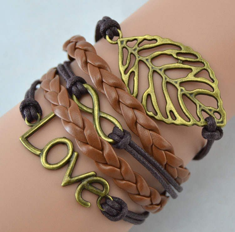 Brown Love Embellished Leather Fashion Wrap Charm Bracelet NIP #unknown #Friendship